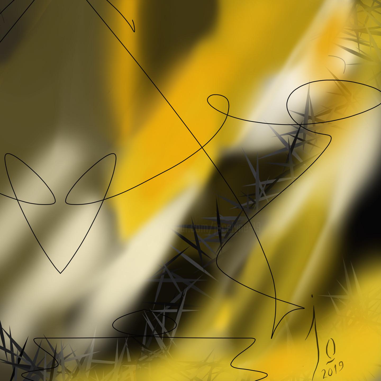 Jo Dupuis - 'Abstrait en jaune et noir' 36 x 36 in.