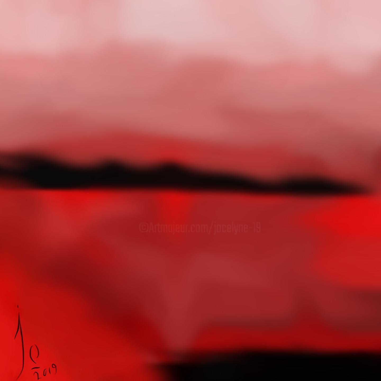 Jocelyne Dupuis (Jo Dupuis) - 'Couchant'  rouge et noir  36x 36 in.  (90 cm)